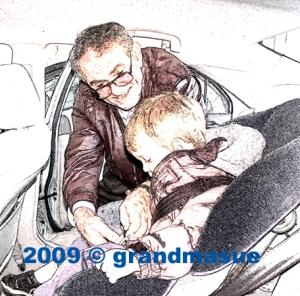 Grandpa Buckles Car Seat Belt